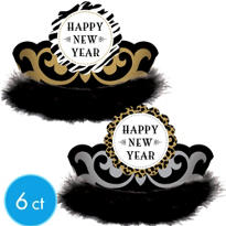 Black, Silver and Gold Animal Print New Years Tiaras 6ct <span class=messagesale><br><b>$1.16 per piece!</b></br></span>