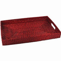 Red Rectangular Bamboo Tray 17in x 11in
