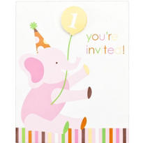 Pink Sweet at One 1st Birthday Invitations 8ct