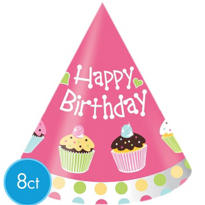 Cupcake Party Hats 8ct