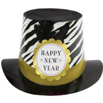 Black, Silver and Gold Zebra Print New Years Top Hat 6in