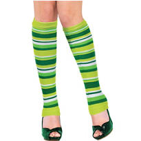 Adult Green Striped Leg Warmers