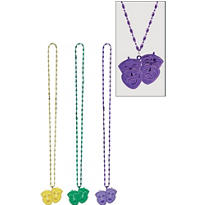 Mardi Gras Necklace with Drama Masks Pendant 42in 3ct