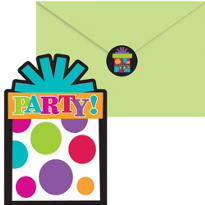 Happy Birthday Invitations 20ct - Rainbow Dot