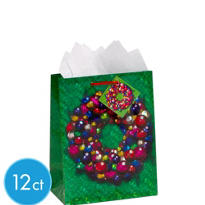 Medium Holographic Ornament Wreath Gift Bags 9in 12ct