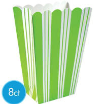 Kiwi Green Striped Popcorn Boxes 8ct
