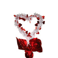 Valentines Day Tinsel Heart Centerpiece 12in