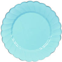 Robin's Egg Blue Scalloped Plastic Dinner Plates 10ct