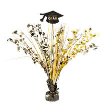 Black, Silver & Gold Graduation Spray Centerpiece 15in