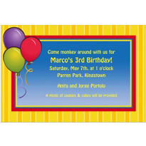 Balloons & Stripes Custom Invitation