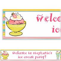 Sweet Soiree Ice Cream Party Custom Banner 6ft