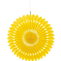 Yellow Paper Fan Decoration 16in