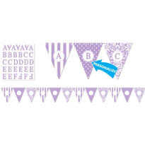 Lilac Personalize It Pennant Banner Kit 28pc