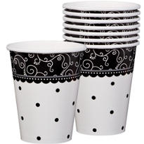 Black & White Wedding Cups 8ct