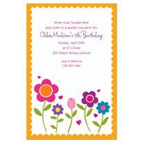Pretty Flowers with Scallop Custom Invitation