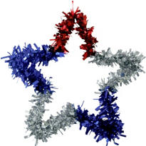 Patriotic Star Tinsel Wreath 12in