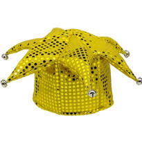 Yellow Sequined Jester Hat