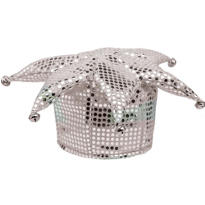 Silver Sequined Jester Hat