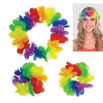 Hawaiian Rainbow Head & Wrist Lei Set 3pc