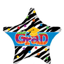 Foil Zebra Party Graduation Star Balloon 18in