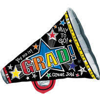 Foil Megaphone Graduation Balloon 34in