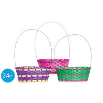 Large Round Bamboo Easter Baskets 24ct