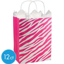 Pink Zebra Print Medium Gift Bags 12ct