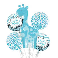 Foil Blue Safari Baby Shower Balloon Bouquet 5pc