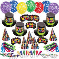 Multi Bright Star New Years <span class=messagesale><br><b>Party Kit For 100</b></span>