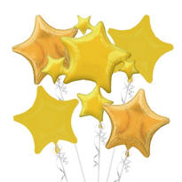 Foil Gold Stars Balloon Bouquet 5pc