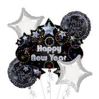 Foil Marquee New Years Balloon Bouquet 5pc
