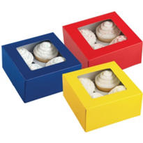 Medium Primary Color Cupcake Boxes 3ct