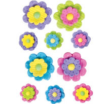 Pastel Icing Flowers 10ct