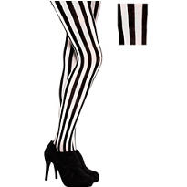 Adult Vertical Black And White Striped Tights
