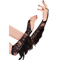 Raven Fantasy Feather Gloves