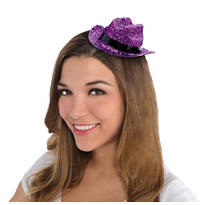 Mini Purple Glitter Cowboy Hat