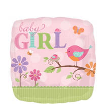 Foil Tweet Bird Baby Girl Balloon 18in