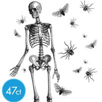 Skeleton Wall Cling Decorations 47pc