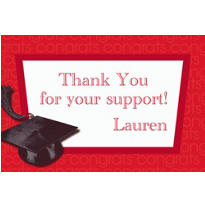 Custom Red Congrats Grad Thank You Notes
