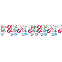 Joyful Snowman Swirl Hanging Decorations 30ct