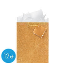 Medium Glitter Gold Gift Bags 9in 12ct