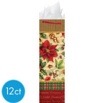 Poinsettia Bottle Bags 17in 12ct