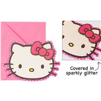 Glitter Hello Kitty Invitations 8ct