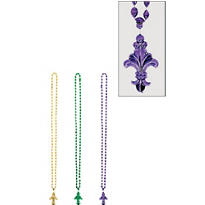 Mardi Gras Beads with Fleur De Lys Pendants 30in 3ct