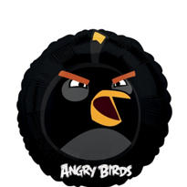 Foil Angry Birds Black Balloon 18in