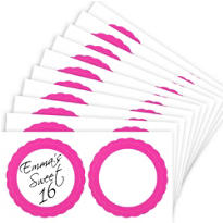 Bright Pink Favor Sticker Labels 20ct
