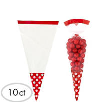 Red Cone Favor Bags 10ct