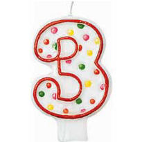 Number 3 Polka Dot Birthday Candle 3in