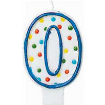 Number 0 Polka Dot Birthday Candle 3in