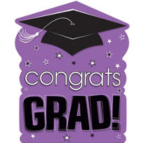 Purple Congrats Grad Cutout 15in